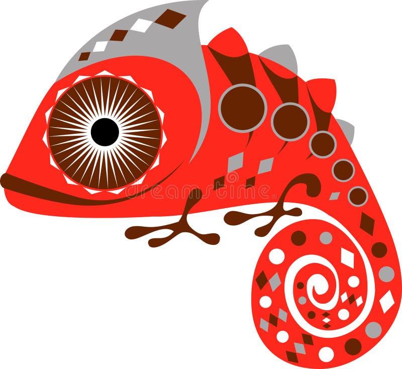 Красный хамелеон с тишью покрасил геометрический орнамент, вектор стоковые фотографии rf