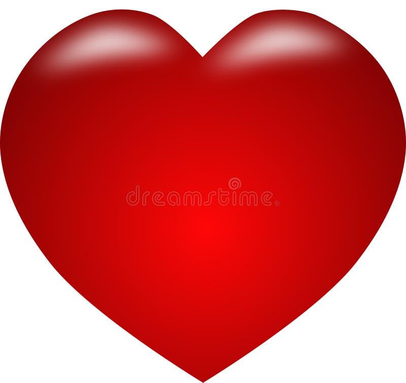 Красный Харт, красное сердце значка изолята иллюстрация вектора