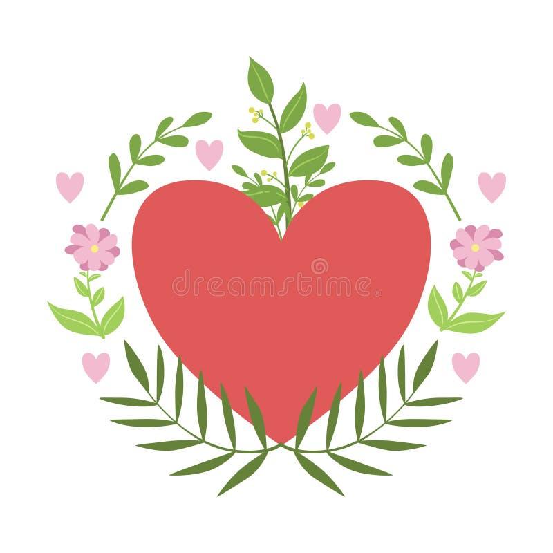 Красный Харт обрамленный с стикером вектора заводов и цветков, текстом элемента сообщения дня валентинок St шаблона отсутствующим бесплатная иллюстрация