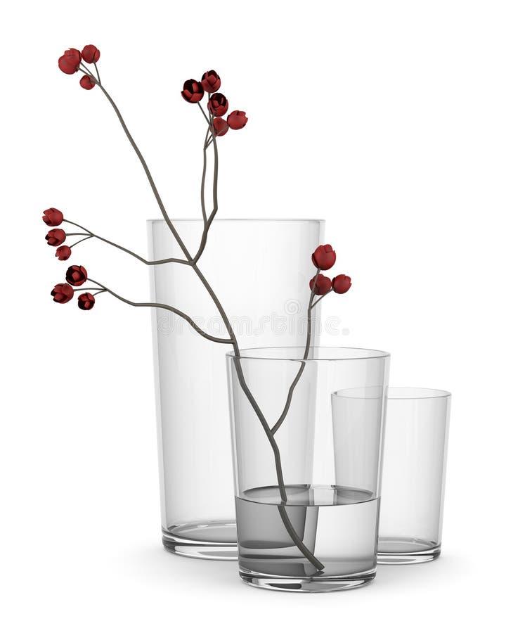 Красный цветок в стеклянной вазе изолированной на белизне иллюстрация штока