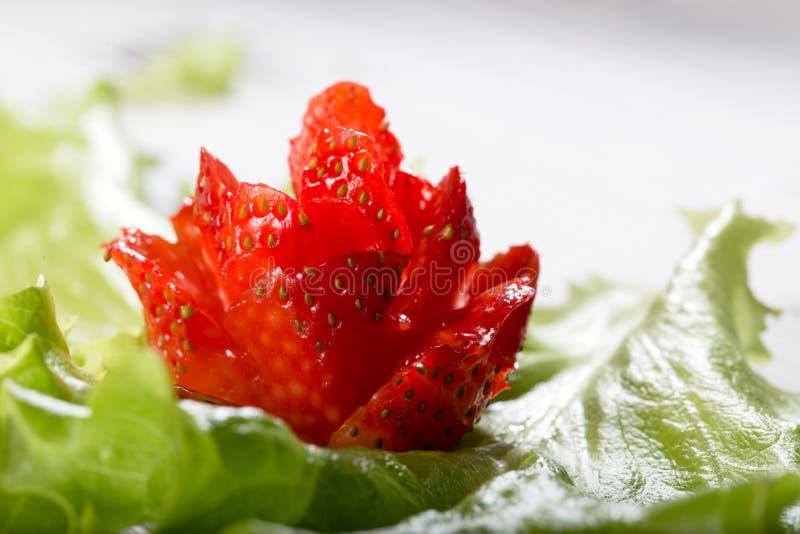 Красный цветок от клубники на зеленых лист салата стоковые изображения rf
