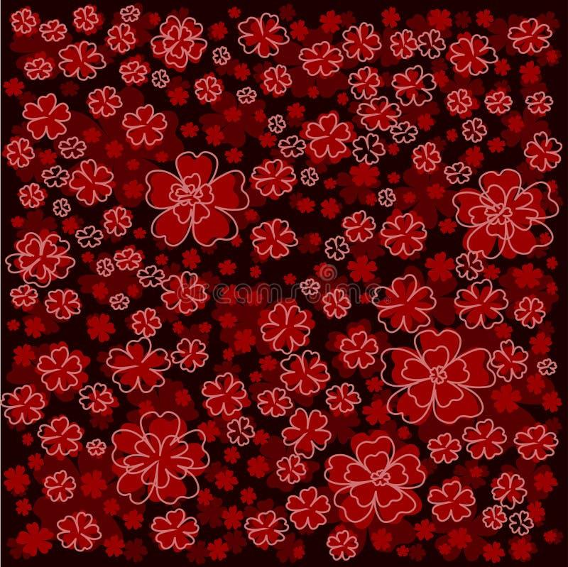 Красный цветочный узор с выровнянными и покрашенными цветками на темноте - красной предпосылке иллюстрация штока