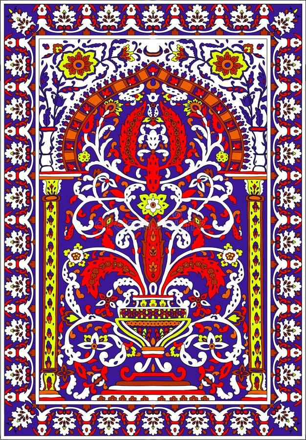 Красный цвет арабского цветка fresca плитки фиолетовый стоковое фото rf