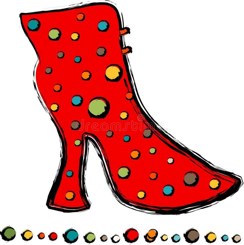 красный цвет бабушки ботинка иллюстрация штока