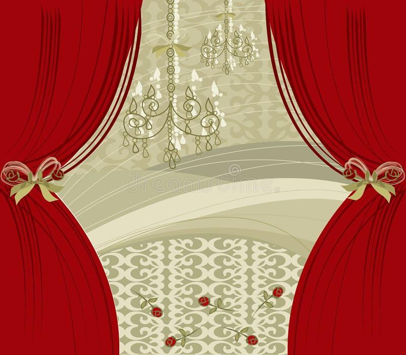 красный цвет биса занавеса бесплатная иллюстрация