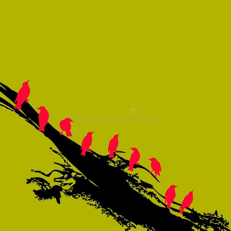 красный цвет ветви птиц бесплатная иллюстрация
