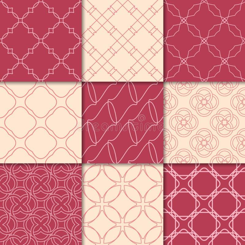 Красный цвет вишни и бежевые геометрические орнаменты собрание делает по образцу безшовное иллюстрация штока