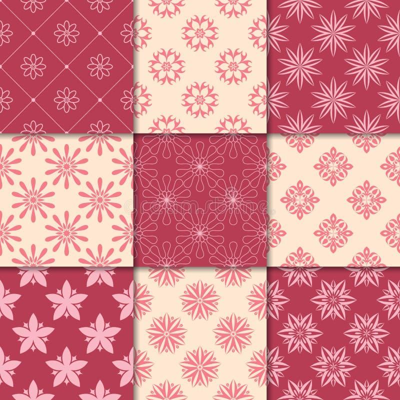 Красный цвет вишни и бежевые флористические орнаменты собрание делает по образцу безшовное иллюстрация штока