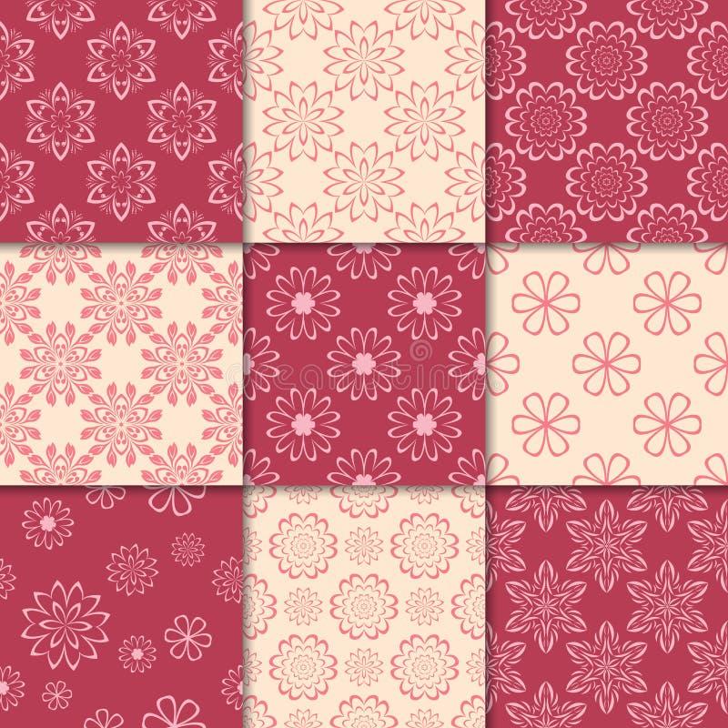 Красный цвет вишни и бежевые флористические орнаменты собрание делает по образцу безшовное бесплатная иллюстрация