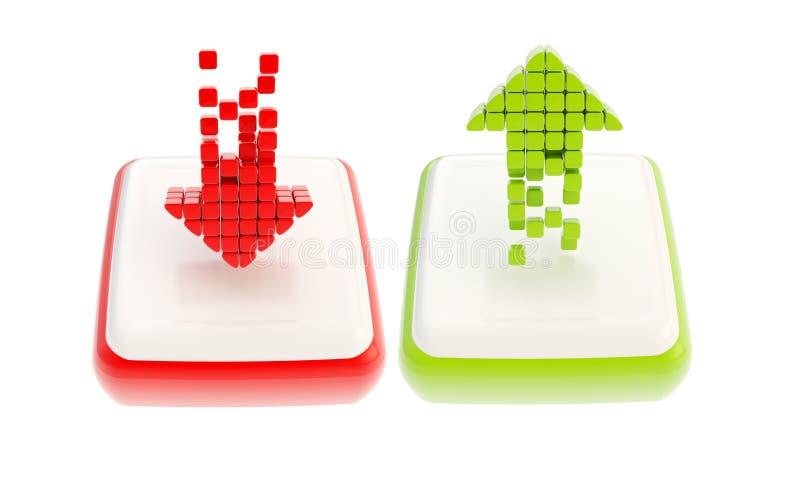 Красный цвет вниз и зеленый цвет вверх по эмблеме значка стрелки лоснистой иллюстрация вектора