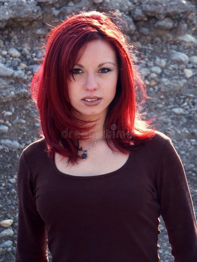красный цвет волос девушки Стоковая Фотография