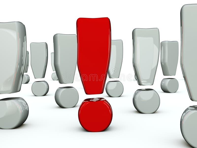 красный цвет восклицательного знака иллюстрация вектора