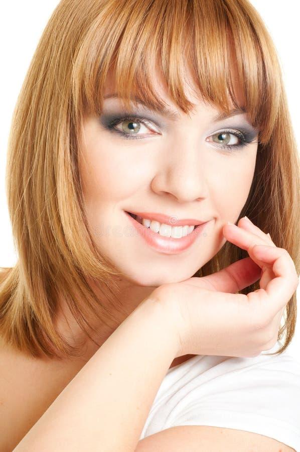 красный цвет девушки стороны с волосами стоковые изображения