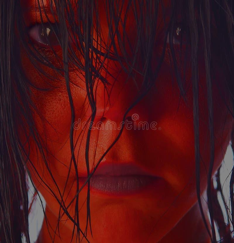 красный цвет девушки стоковое изображение rf