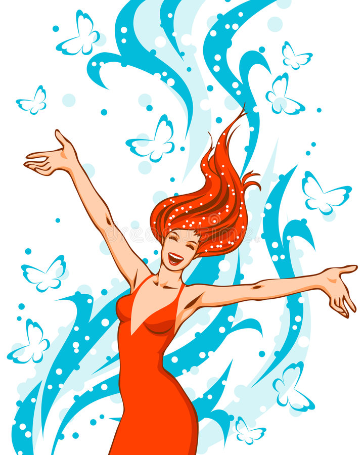 красный цвет девушки иллюстрация штока