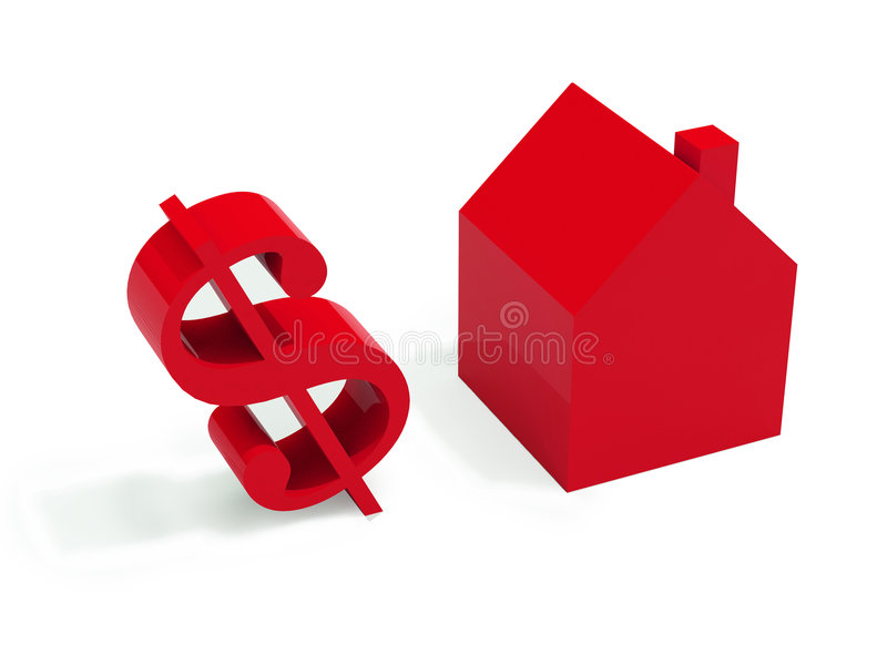 Download красный цвет дома доллара иллюстрация штока. иллюстрации насчитывающей свойства - 6851636
