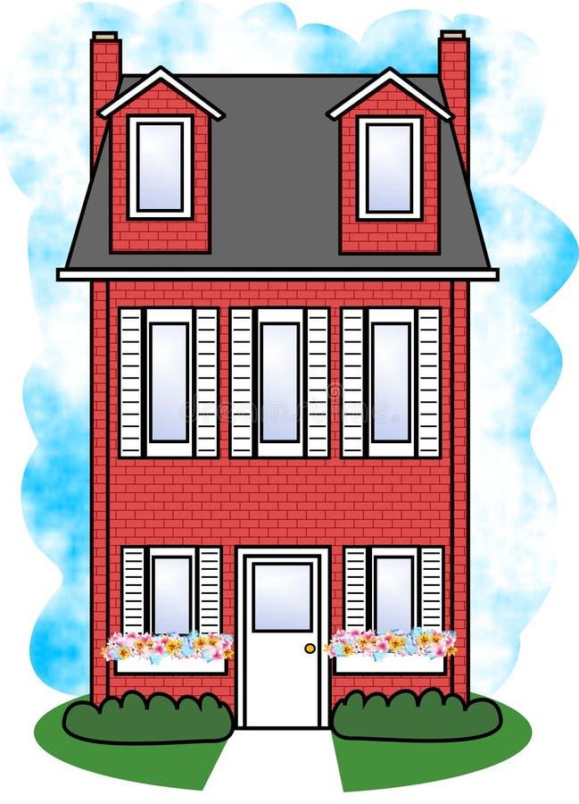 красный цвет дома иллюстрация штока