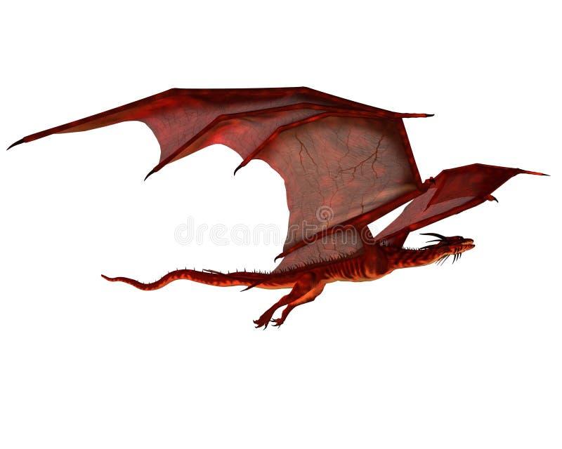 красный цвет дракона скользя иллюстрация штока