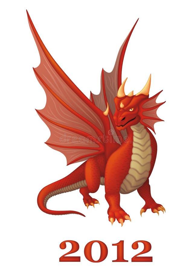 красный цвет дракона иллюстрация вектора