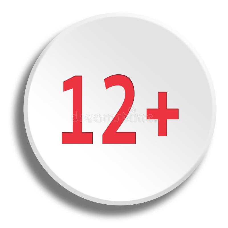 Красный цвет 12 лет в круглой белой кнопке с тенью иллюстрация штока