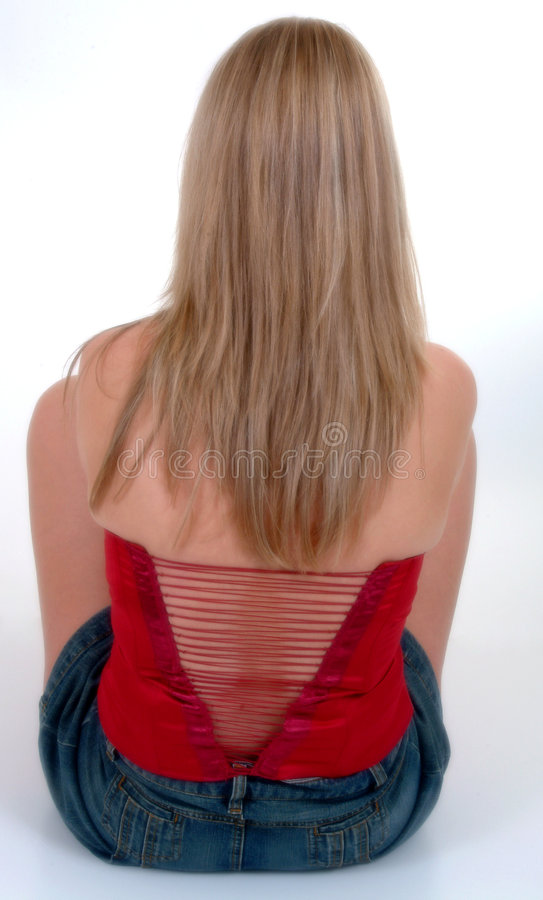 красный цвет зашнурованный лифом Стоковая Фотография