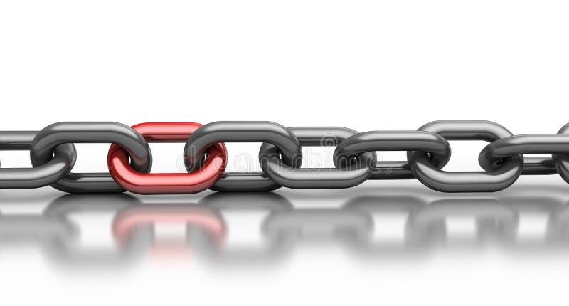 красный цвет звена цепи иллюстрация вектора