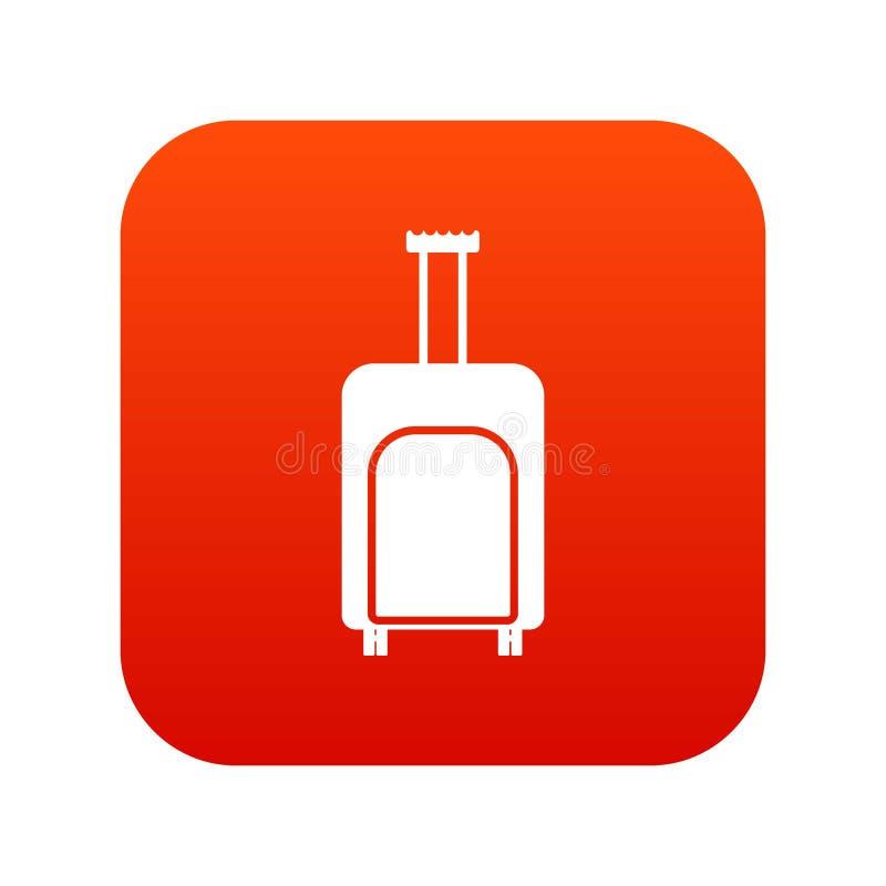 Красный цвет значка чемодана перемещения цифровой иллюстрация штока