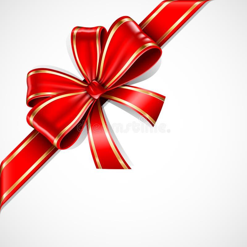 красный цвет золота подарка смычка иллюстрация штока
