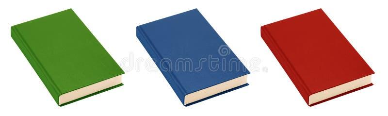 красный цвет изолированный зеленым цветом 3 голубых книг стоковое изображение