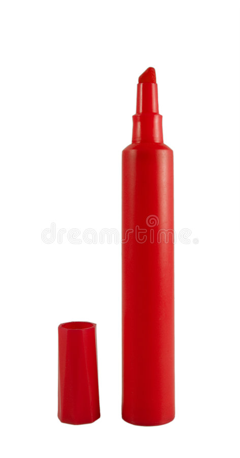 красный цвет изолированный highlighter стоковое фото