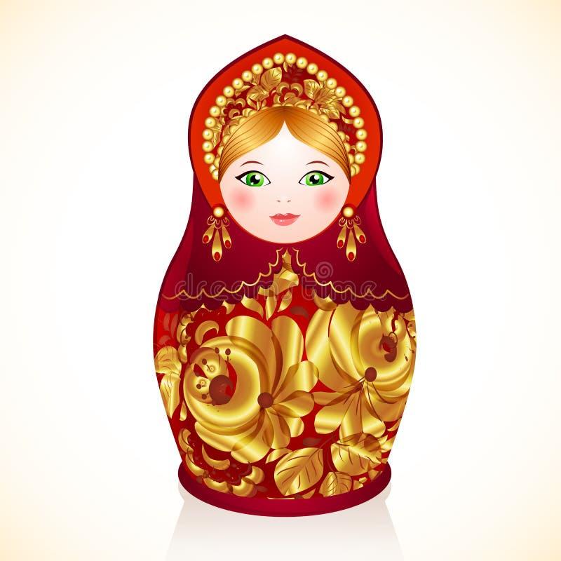 Красный цвет и кукла цветов золота русская, Matryoshka иллюстрация вектора