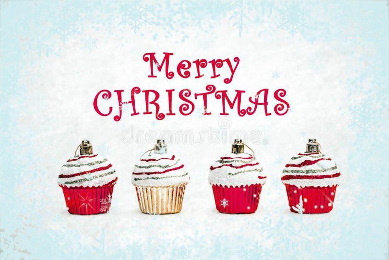 Красный цвет и пирожные рождества золота на белой предпосылке иллюстрация штока