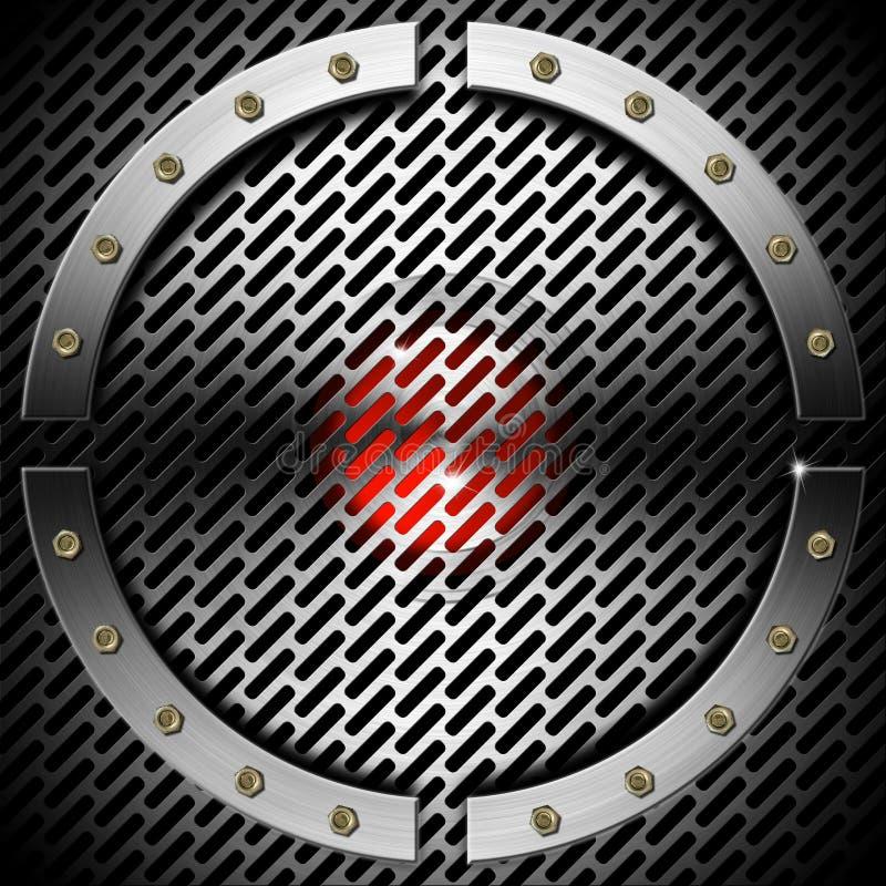 Красный цвет и предпосылка металла с решеткой и кругом иллюстрация штока