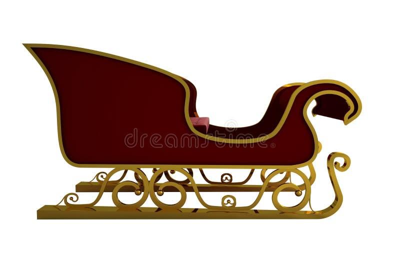 Красный цвет и сани santa золота иллюстрация штока