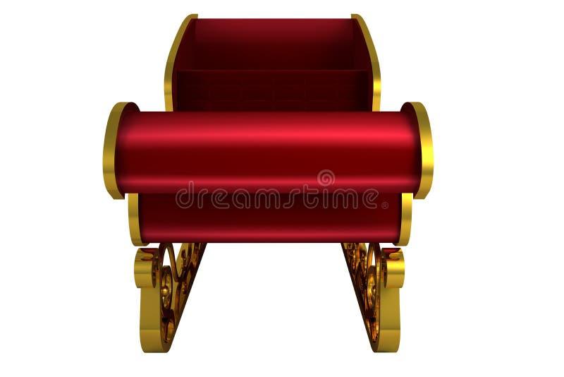 Красный цвет и сани santa золота иллюстрация вектора