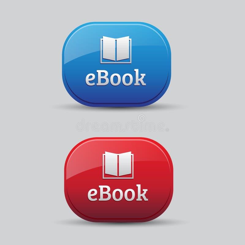 Красный цвет и синь кнопки иконы Ebook бесплатная иллюстрация
