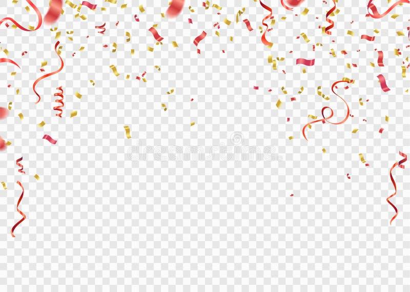 Красный цвет и confetti золота, серпентин или ленты падая на белый tr иллюстрация штока