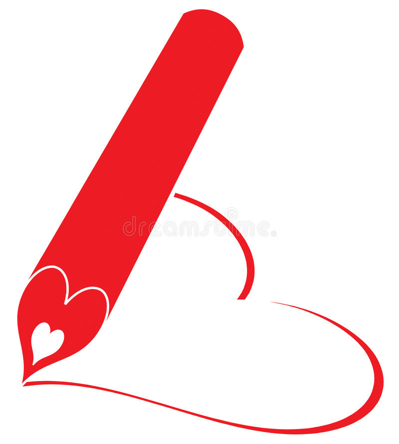 красный цвет карандаша сердца пишет стоковые фотографии rf