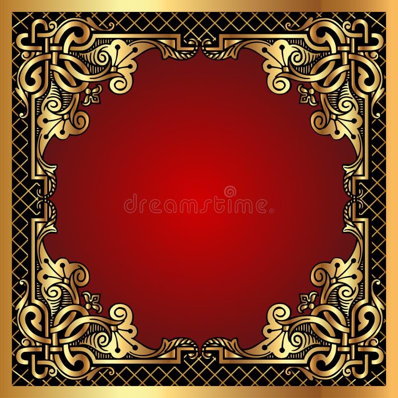 красный цвет картины сети золота рамки en предпосылки иллюстрация штока