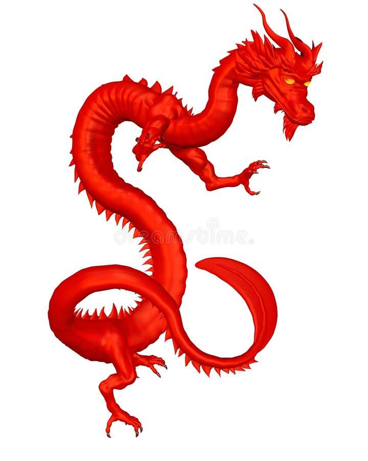 красный цвет китайского дракона удачливейший иллюстрация вектора