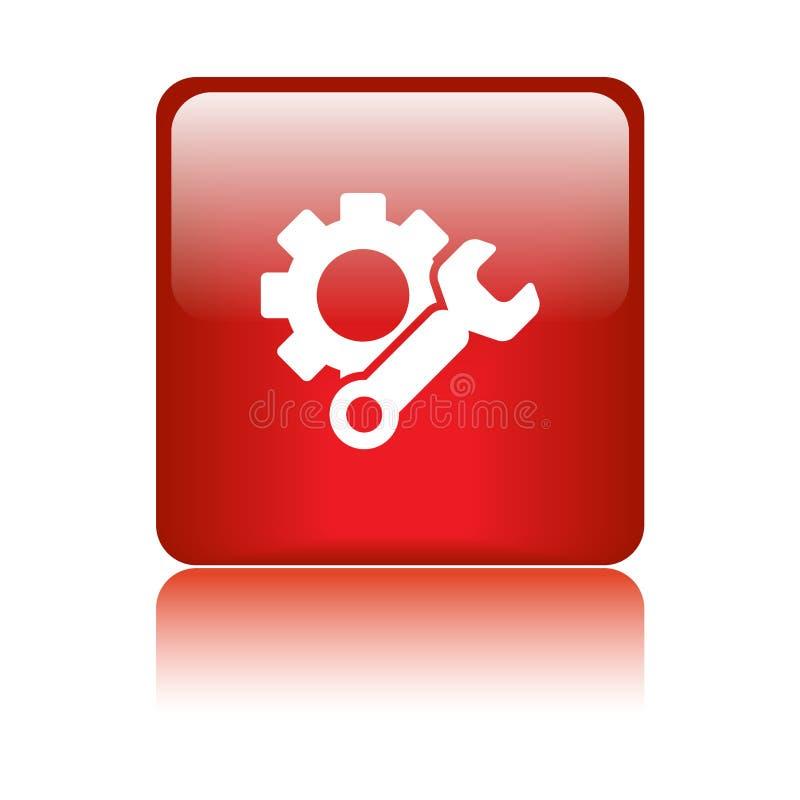 Красный цвет кнопки сети значка установок иллюстрация вектора