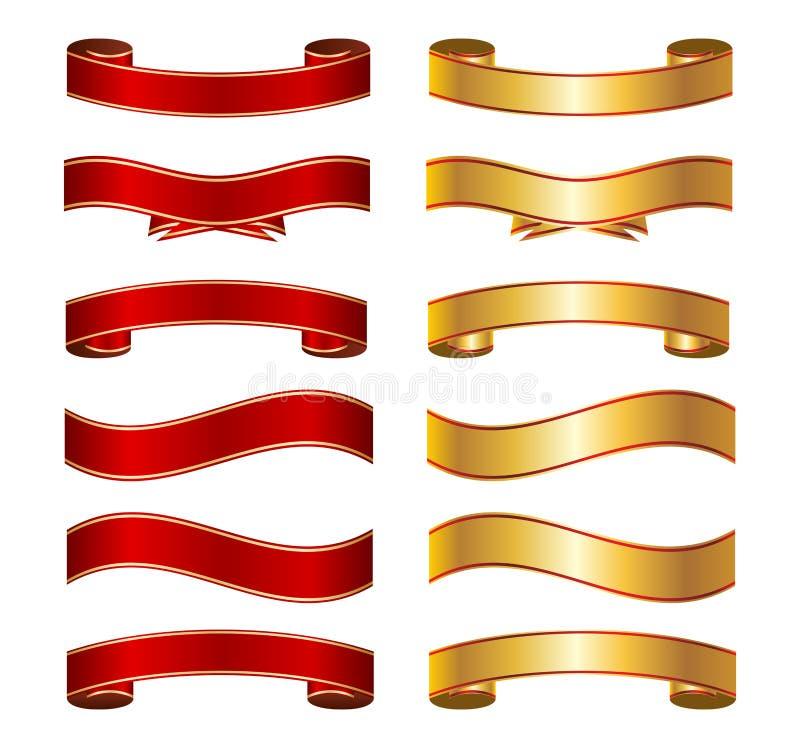 Красный цвет & комплект собрания знамени ленты золота основной иллюстрация вектора