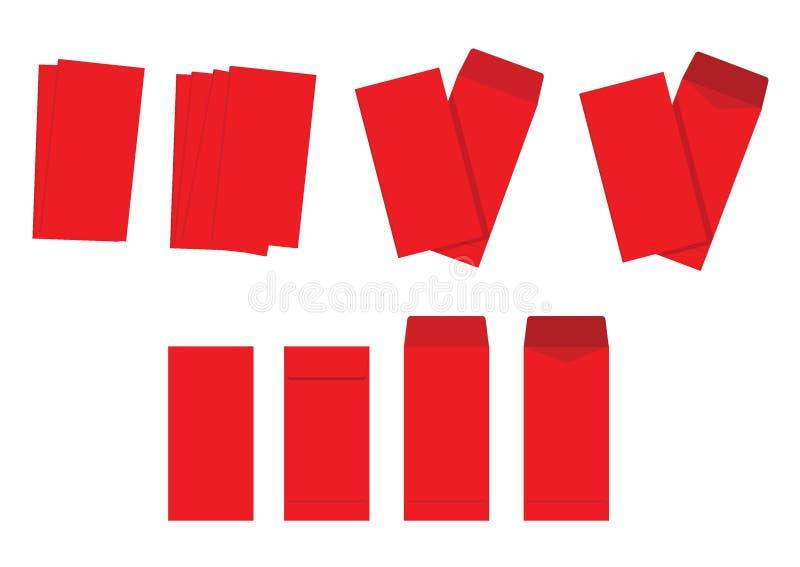 Красный цвет конверта на белой предпосылке Китайский Новый Год или лунная концепция Нового Года пакеты вектора иллюстрации красны иллюстрация штока