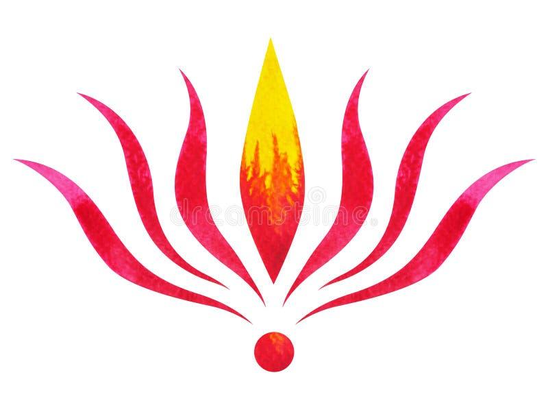 Красный цвет концепции символа chakra, цветет флористические лист, картина акварели иллюстрация вектора