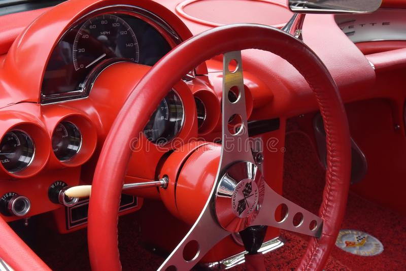 1957 красный цвет Корвет на Frankenmuth Autofest, Мичигане стоковые изображения