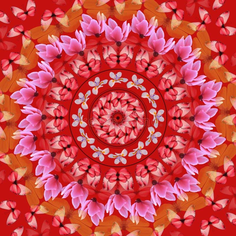 красный цвет мандала иллюстрация вектора