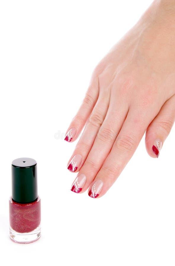 красный цвет маникюра manicure стоковые изображения rf