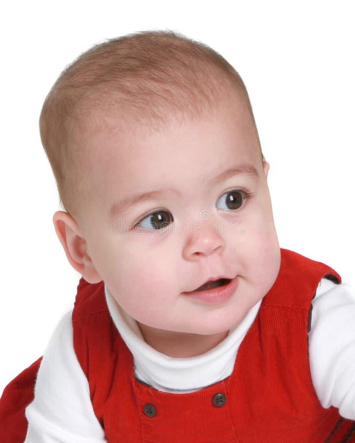 красный цвет месяца 9 платья младенца старый стоковая фотография rf