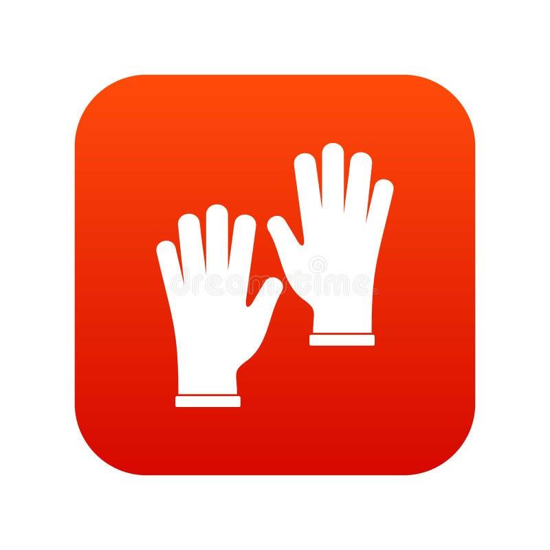 Красный цвет медицинского значка перчаток цифровой иллюстрация штока