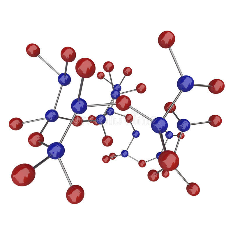 красный цвет молекулы атомов голубой иллюстрация штока